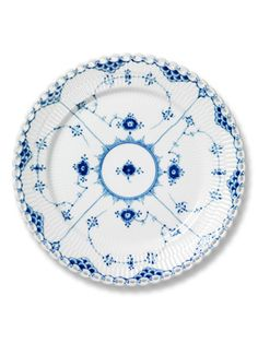 COURTESY OF ROYAL COPENHAGEN: Lace Pattern Plate.   Royal Copenhagen's Blue Fluted Lace, introduced in about 1775.