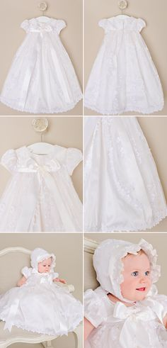 A beautiful day length silk gown featuring a stunning cut-away beaded lace overlay and luxurious wide ribbon bow. set includes gown, cotton slip and bonnet Color: pearl white (a ric… Christening Gowns For Girls, Girls Baptism Dress, Silk Ribbon, Ribbon Bows, Blessing Dress, Cotton Slip, Silk Gown, Lace Bodice, Beaded Lace
