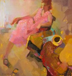 Michael Steirnagle - Pink Dress with Teacup. Great colors and perspective