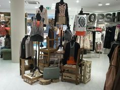 TOPSHOP in store visual merchandising. Has the mountain top effect. Your eyes go from top to bottom in a fluid motion.