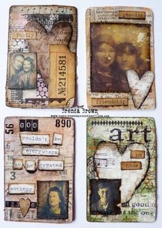Gorgeous altered and collaged playing cards from Brenda Brown - Bumblebees and Butterflies - Atc Cards, Bingo Cards, Card Tags, Art Journal Pages, Journal Cards, Junk Journal, Art Journals, Round Robin, Paper Art