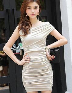 Pretty Polyester Apricot Sexy Style One Shoulder Sheath Sleeveless Mini Casual Dresses