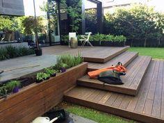 Garten terrassendielen ideen designs composite besten backyard be harmful to your garden. Backyard Patio Designs, Backyard Landscaping, Backyard Ideas, Landscaping Ideas, Low Deck Designs, Terraced Backyard, Garden Ideas With Decking, Deck Edging Ideas, Back Yard Deck Ideas