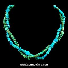 """Price: $190.00    One strand of blue turquoise in mixed shapes and one strand of green turquoise in mixed shapes comprise this custom designed necklace. Sterling silver accent beads and a square toggle closure. Approx length including clasp is 19 1/2"""""""