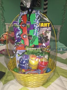 Ninja turtle theme basket can't forget you can get most of this things in target