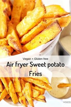 I have made this sweet potato fries in two ways, Air fried and baked. So those who don't have an air fryer can also enjoy this guilt-free snack. How to make Air fryer Sweet potato fries - Lathi's Kitchen Air Fryer Sweet Potato Fries, Making Sweet Potato Fries, Sweet Potato Fritters, Gluten Free Vegetarian Recipes, Vegan Recipes Easy, Delicious Recipes, Free Recipes, Easy Snacks, Easy Meals