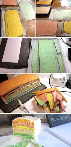 Baking and assembling this cake took me the entire evening before the baby shower until the wee hours of the morning. I wanted a long, layered cake that would surprise everyone with beautiful paste…