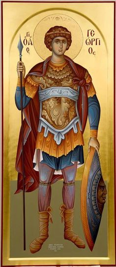 Άγιος Γεώργιος / Saint George (painted by Christos Fitzios) Byzantine Icons, Byzantine Art, Religious Icons, Religious Art, Roman Church, Picture Icon, Orthodox Christianity, Archangel Michael, Saint George