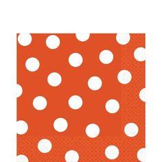 Orange Polka Dot Lunch Napkins 16ct