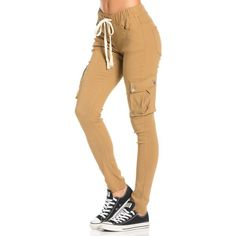 Drawstring Skinny Cargo Pants in Khaki ($30) ❤ liked on Polyvore featuring pants, bottoms, jeans, cotton pants, cotton cargo pants, elastic waist pants, stretchy pants and stretch pants