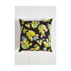 Rustic Cacti Affair Pillow (439.125 IDR) ❤ liked on Polyvore featuring home, home decor, throw pillows, bedding, multi, sheets - basics, black throw pillows, green accent pillows, flower home decor and black accent pillows