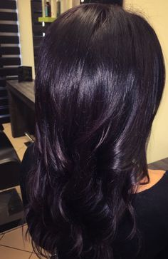 Hairstyles Plum Black Hair Color Exciting Woman Purple Ideas In - plum hair color Plum Black Hair, Dark Purple Hair Color, Hair Color For Black Hair, Ombre Hair Color, Dark Violet Hair, Black Ombre, Purple Tinted Hair, Dark Purple Highlights, Purple Style