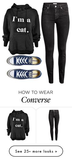 """""""Me a Cat"""" by sammi-mo on Polyvore featuring H&M and Converse"""