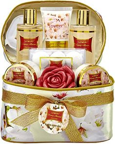 Mother's Day Gifts - Bath and Body Gift Basket For Women – Honey Almond Home Spa Set with Fragrant Lotions, 6 Bath Bombs, Reusable Travel Cosmetics Bag with Mirror and More - 14 Piece Set Burger Restaurant, Bath Soap, Bath Salts, Gift Baskets For Women, Honey Almonds, Travel Cosmetic Bags, Cosmetic Case, Home Spa, Spa Gifts