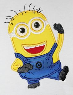 Minion movie - machine fill stitch embroidery and applique design INSTANT DOWNLOAD- multiple sizes for hoop 4x4 and 5x7, 6x10