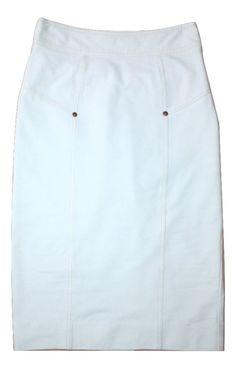 DVF Diane von Furstenberg 'Cougarette Denim' White Ponte Knit Pencil Skirt Sz 0 #DVF #Pencil