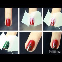 How to make a Christmas tree nail via @pshiiit_polish