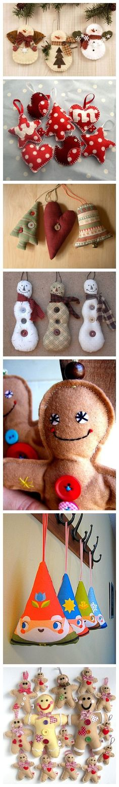 Felt ornaments, especially love the gingerbread man
