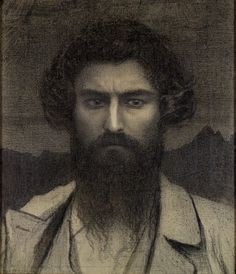 Giovanni Segantini (Italian, 1858-1899), Autoritratto [Self-portrait], 1895. Charcoal with gold dust and traces of crayon on canvas, 59 x 50 cm.