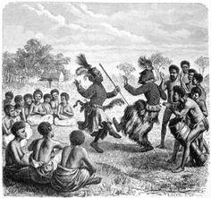 1901. Bruun, Daniel. Afrika: Dets Opdagelse, erobring og kolonisation. Populaert fremstillet; vol II.  Original language: Danish  Caption translation: Barotse dance. (After Holub)