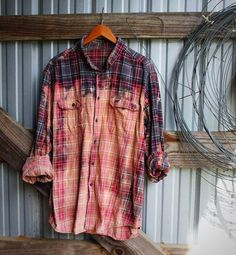 Red and Gray distressed vintage flannel from Mad Mary's Boutique.