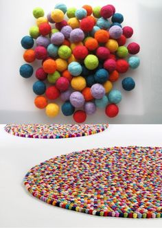 felt ball rug. Love this idea Sarah!