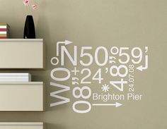 Add some personalised art to your wall with this coordinates wall sticker.