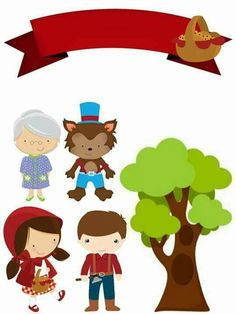 Red Riding Hood Party, Little Red Ridding Hood, Chibi Kawaii, Felt Bookmark, Fairy Tales For Kids, Cartoon Books, Pig Party, Bunting Flags, Conte