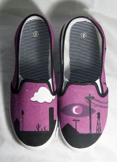 Welcome To Night Vale Hand Painted Slip Ons by FireEyeMarket, $30.00