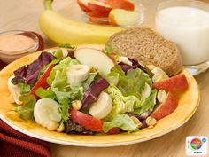 Apple Banana Salad with Peanuts WhatsCooking.usda.gov #fruit #veggies #protein #MyPlate