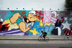 A work of street art on the famed Houston Street wall by artist John Matos on June 6, 2013 in New York City. (Photo by Spencer Platt/Getty Images)
