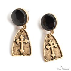 The black pieces inserted in the the Nunn Design Earring are vintage buttons.  Arch Cross Charm is part of the 2015 Summer Collection.