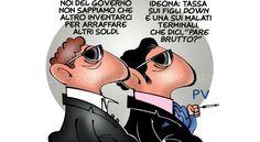 Ma quanto ci costa Lavoltabuona - Postik.it Intanto esportiamo eccellenze: un miliardario fascistoide, sessista e xenofobo e coi capelli trapiantati rischia di diventare Presidente degli Stati Uniti, l'unica differenza è che da loro Berlusconi è biondo. Vignetta di Pietro Vanessi