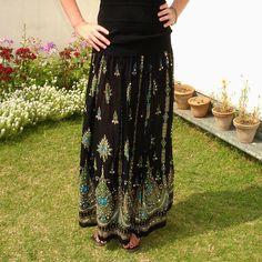 Gypsy Skirt: Black Maxi Skirt Long Sequin Skirt Boho by DelhiDaze
