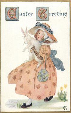 EASTER GREETING girl walks left holding white rabbit