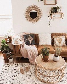 Timber Charme Tan Sofa - Home Professional Decoration Boho Living Room, Living Room Interior, Bohemian Living, Bohemian Homes, Bohemian Decor, Modern Bohemian, Cozy Living, Tan Sofa Living Room Ideas, Bohemian Design