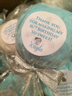 40 Winter Wonderland Cotton Candy Lollipops with custom labels 40 Winter Wonderland Cotton Candy Lollipops by Dollyscottoncandy Sweet 16 Sleepover, 10th Birthday Parties, Sweet 16 Birthday, 16th Birthday, Birthday Ideas, Cotton Candy Favors, Winter Wonderland Birthday, Sweet 16 Decorations, Sweet Sixteen Parties