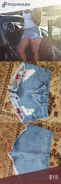 Forever 21 Plaid Pocket Shorts Super cute high waist with longer pockets. Plaid is red, navy and white Forever 21 Shorts Jean Shorts