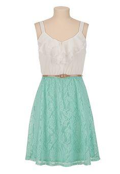 Belted Ruffle Front Lace Skirt Dress - maurices.com