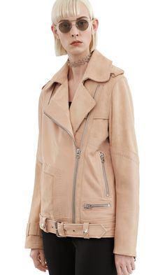 Acne Studios Heather Natural Collage leather jacket