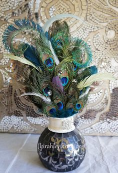 Over The Top PEACOCK -- Feather Wedding Keepsake Cake Topper, Reception Decor or Table Centerpiece -- Customization Available in YOUR colors