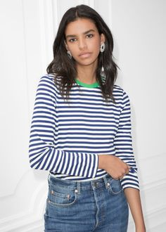 Model front image of Stories striped long sleeve tee in blue