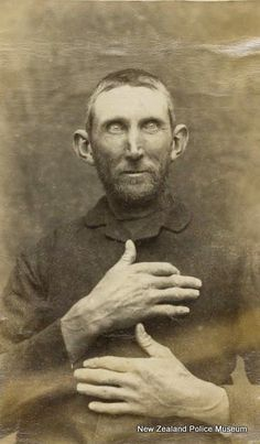John Powell (b. 1843). Charged with killing a sheep with intent to steal the carcass and sentenced to two years in gaol on 8 October 1889 [Nelson]. Photograph taken on 2 September 1889.