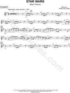 Print and download Star Wars (Main Theme) - Trumpet sheet music from Star Wars arranged for Trumpet. Instrumental Solo in G Major.