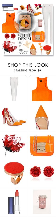 """White jeans / Orange top / Red heels"" by pengy-vanou on Polyvore featuring Polo Ralph Lauren, Dsquared2, Gianvito Rossi, Furla, STELLA McCARTNEY, Bibi Marini, Maybelline, Torrid, Yves Saint Laurent and whitejeans"