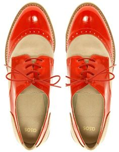 Leather and Patent Lace Up Brogue, color Red/Stone