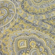 yellow grey paisley fabric - Google Search