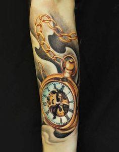 Realistic Time Tattoo by Charles Huurman | Tattoo No. 12394