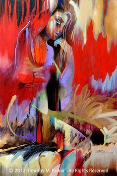 "Figure Art Painting - Artist Tim Parker ""Majal"" Abstract Figurative Artwork Print"