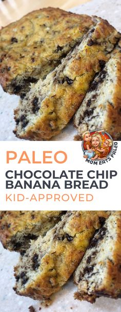 Paleo Banana Bread with chocolate chips that is easy to make and kid-approved. Great for breakfast or an afternoon snack.Homemade Paleo Banana Bread with chocolate chips that is easy to make and kid-approved. Great for breakfast or an afternoon snack. Paleo Recipes Dinner Chicken, Paleo Recipes Easy, Almond Recipes, Diet Recipes, Paleo Meals, Vegetarian Paleo, Cooking Recipes, Banana Recipes Paleo, Easy Paleo Desserts